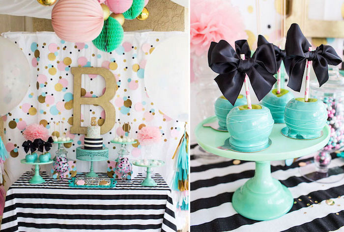side by side photos, colorful decor, cake pops, two tier cake, minnie mouse baby shower, turquoise cake stand