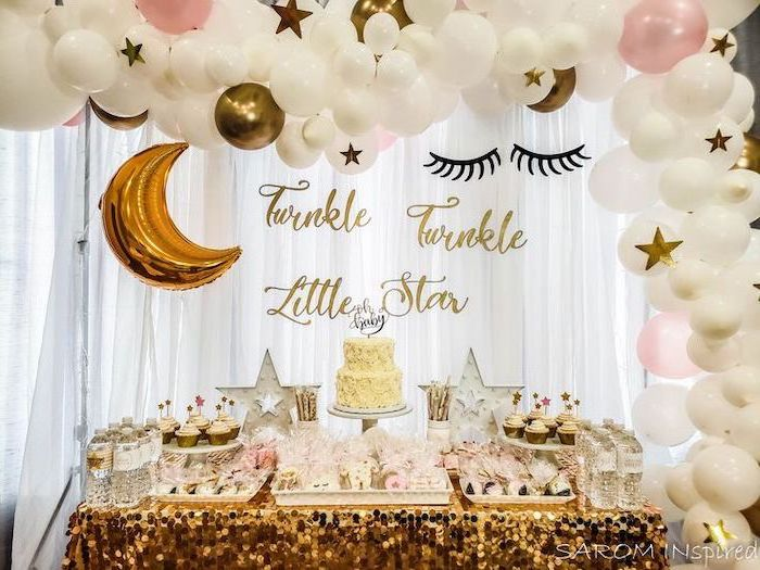 baby girl baby shower themes, twinkle twinkle little star, white and gold decor, dessert table