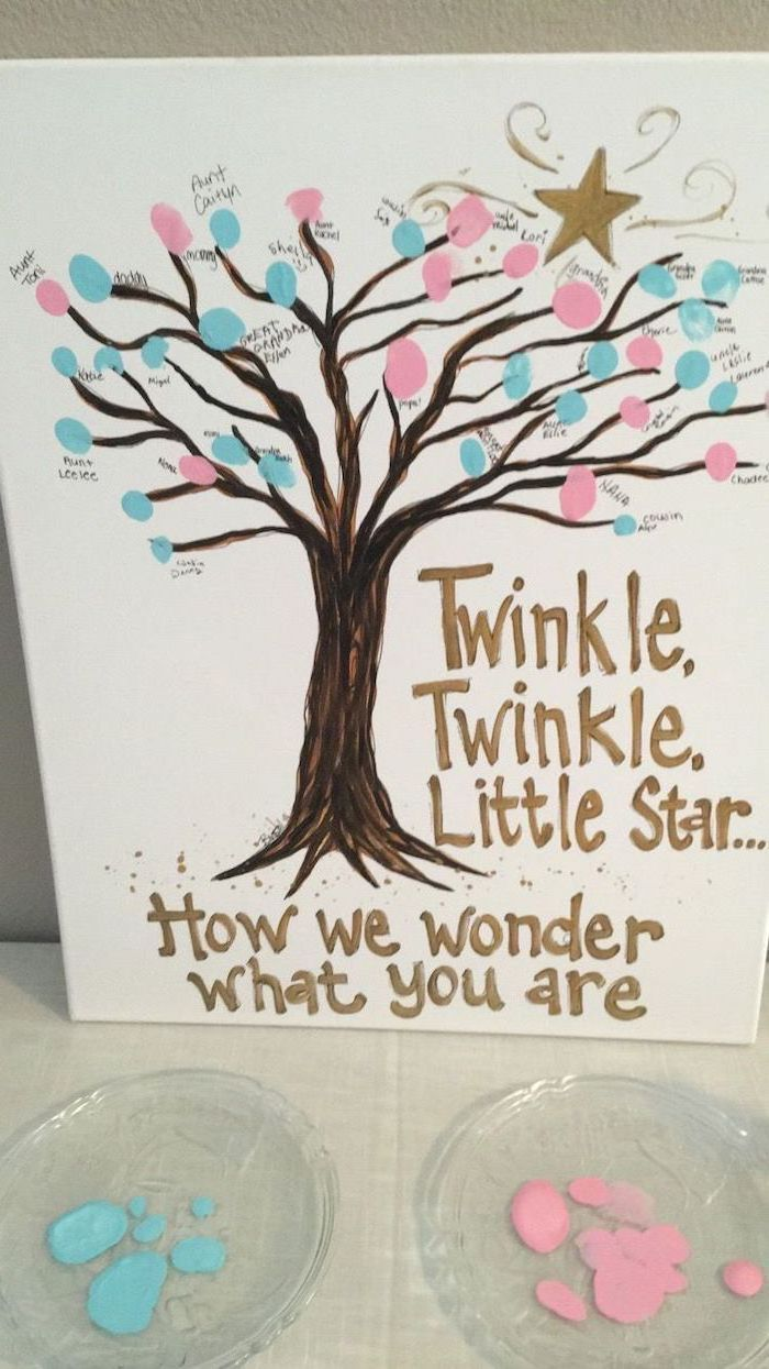 twinkle twinkle little star, how we wonder what you are, gender reveal cake ideas, blue and pink fingerprints