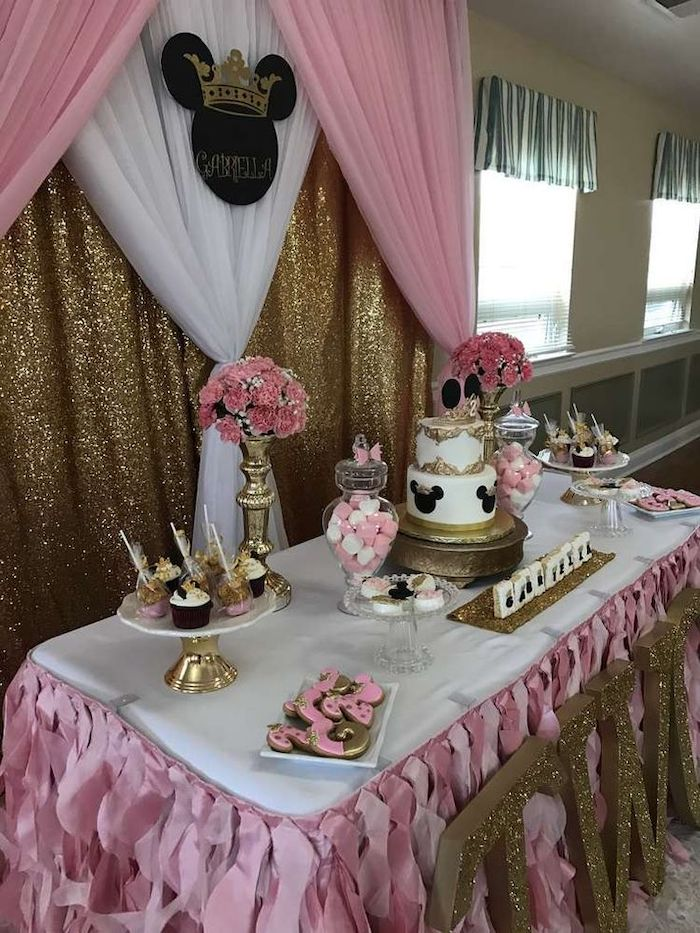 minnie mouse theme, baby girl baby shower themes, pink and white tulle, gold sequins, dessert table, three tier cake