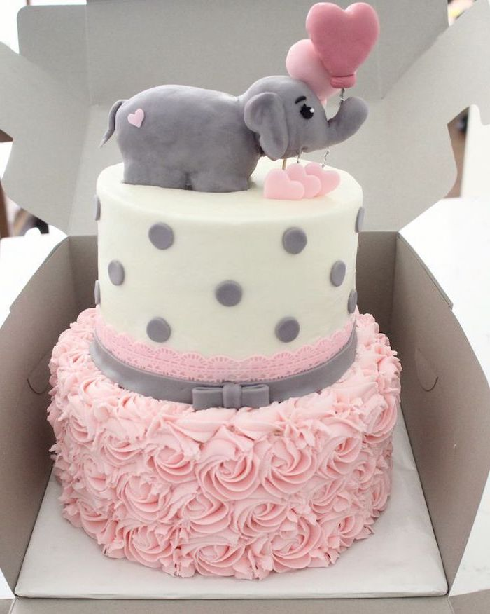 two tier cake, white fondant, pink frosting, baby girl baby shower themes, small elephant, carton box