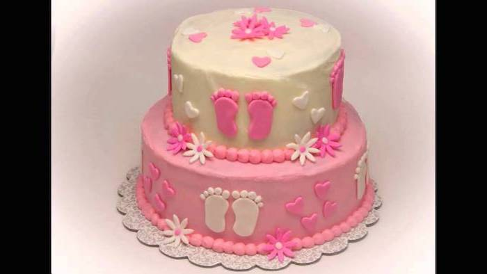 two tier cake, white and pink fondant, silver tray, baby girl baby shower themes