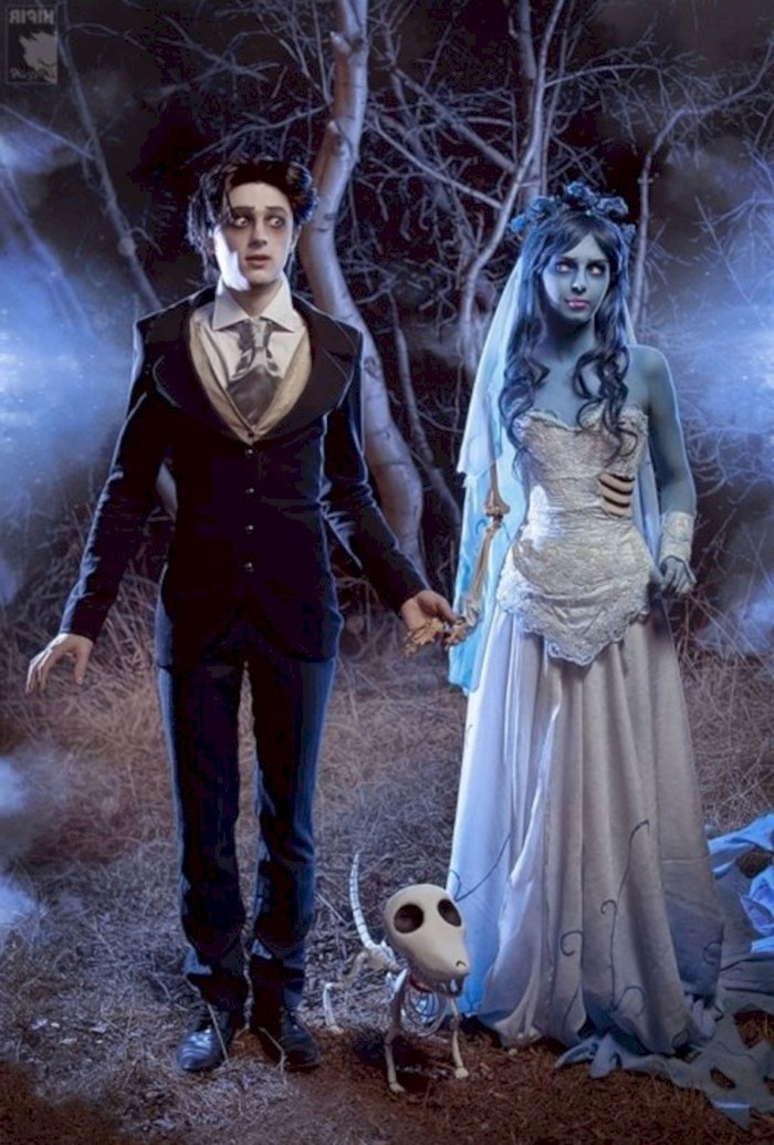 victor and corpse bride, man in a suit, woman with wedding gown, halloween costume ideas for men, spooky forrest