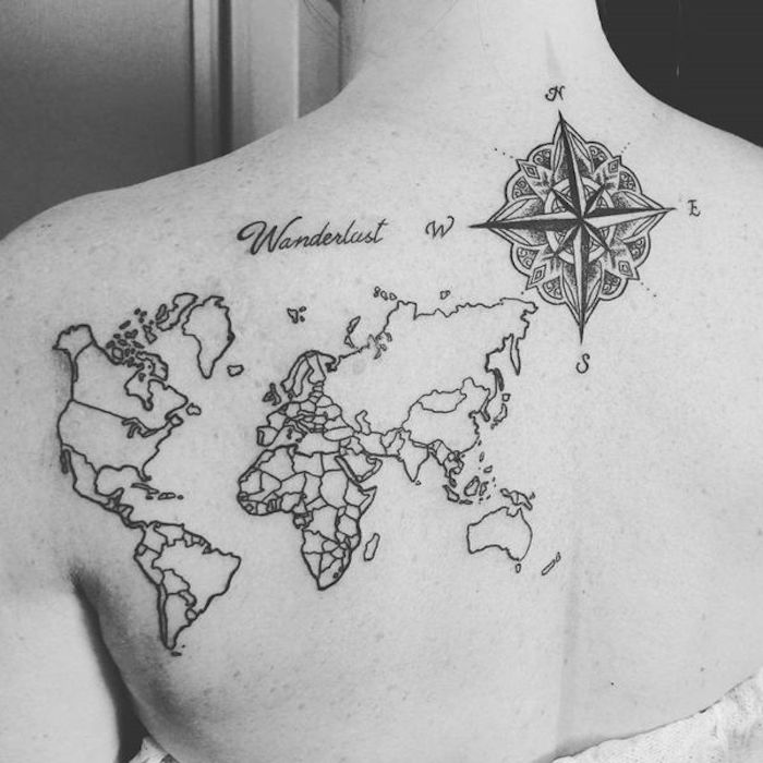 map of the world, compass tattoo forearm, wanderlust cursive text, back tattoo, black and white photo