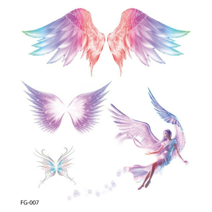 watercolor angel wings tattoo, drawings of different types of wings, colored drawings on white background