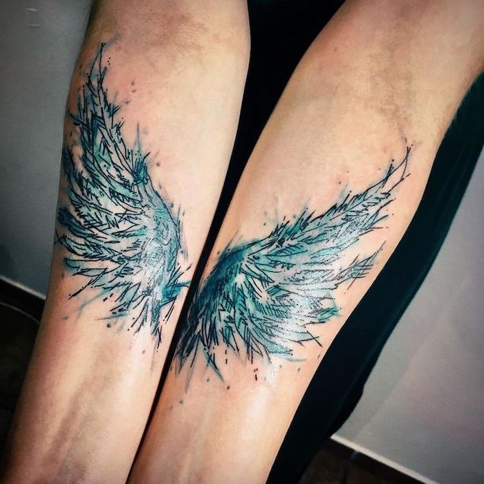 watercolor tattoo, blue colors, forearm tattoo, on both arms, cross with wings tattoo, white background
