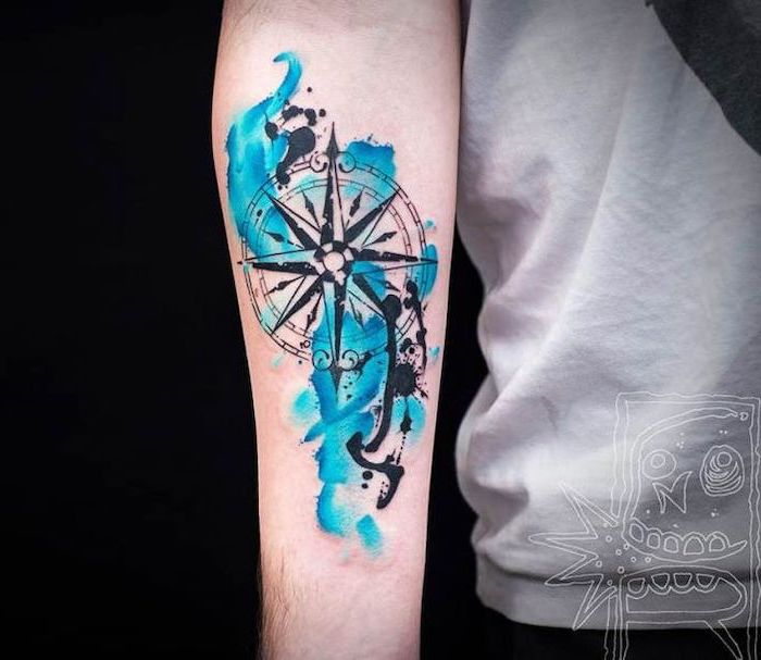 watercolor tattoo, blue color, compass tattoo forearm, black background, white t shirt