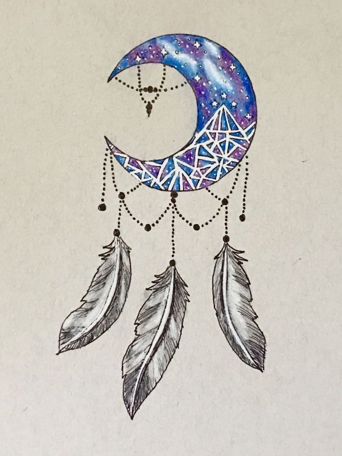 small dream catcher, watercolor drawing, crescent moon, blue and purple colors