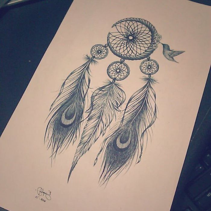 black and white drawing, small dream catcher, collibri flying, white paper