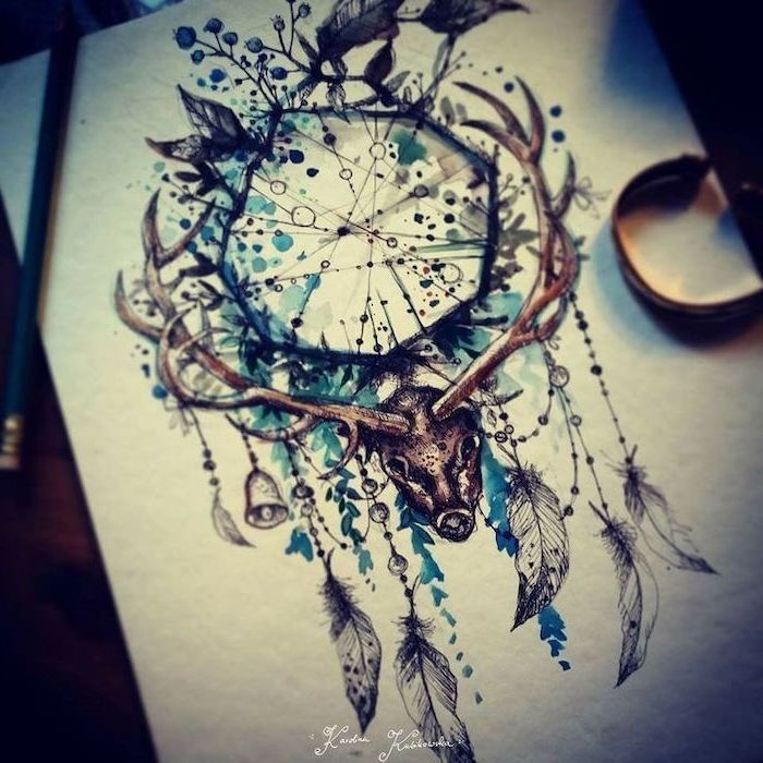 watercolor drawing, large stag head, small dream catcher, white paper, birds and flowers
