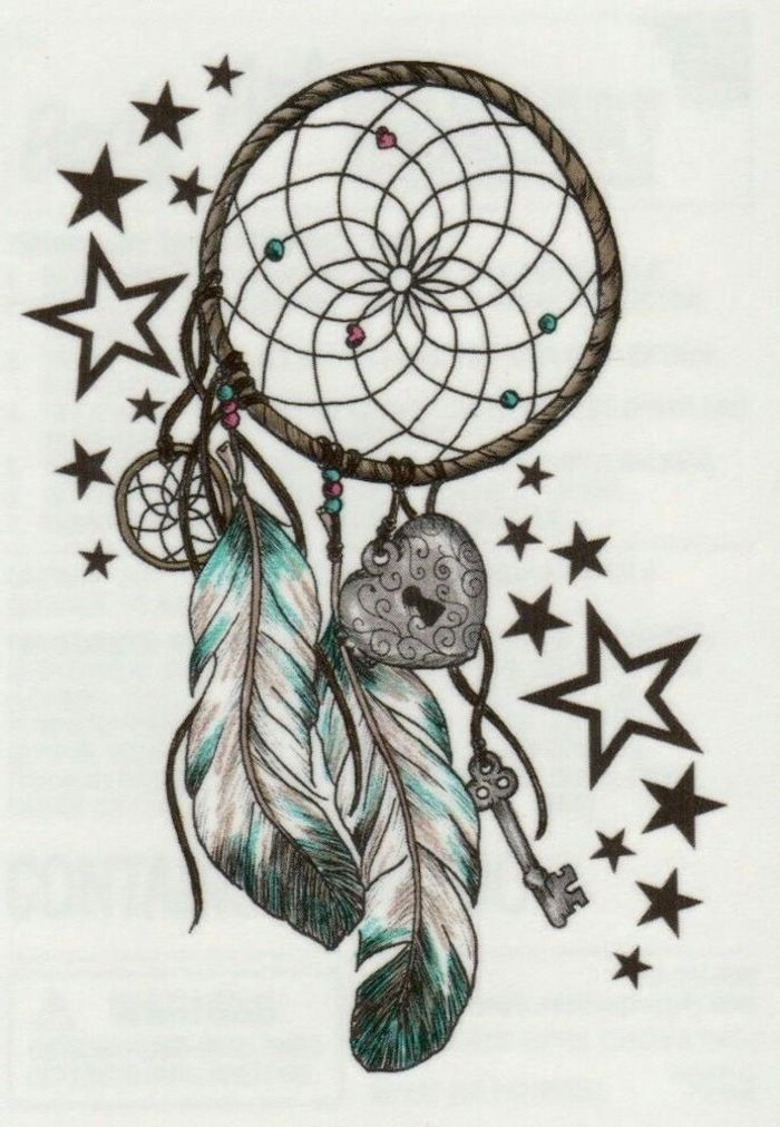 lock and key, lots of stars, disney dream catcher, dreamcatcher drawing