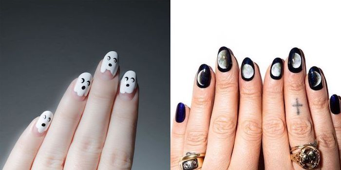 side by side photos, two different designs, black and white nail polish, almond nails, phases of the moon, orange ombre nails