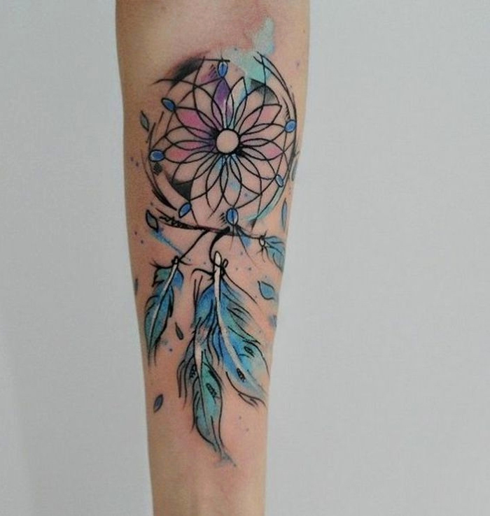 watercolor tattoo, disney dream catcher, forearm tattoo, white background, purple pink and blue colors