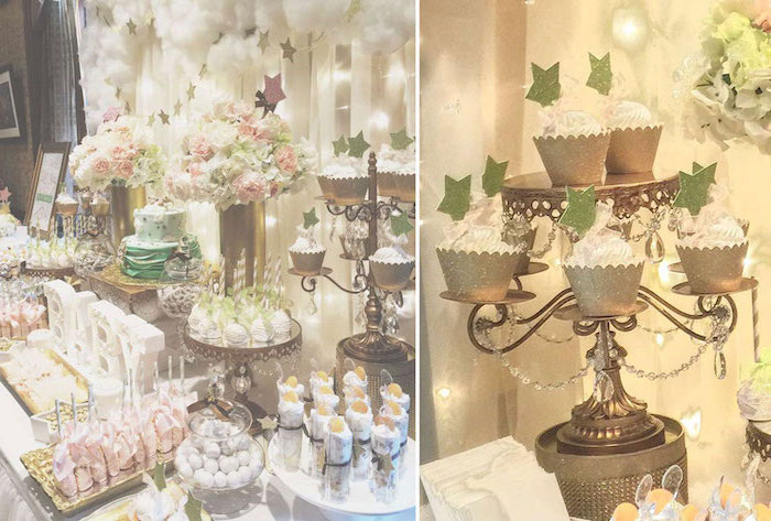 side by side photos, heaven sent theme, white tulle, fairy lights, two tier cake, dessert table, baby girl baby shower themes