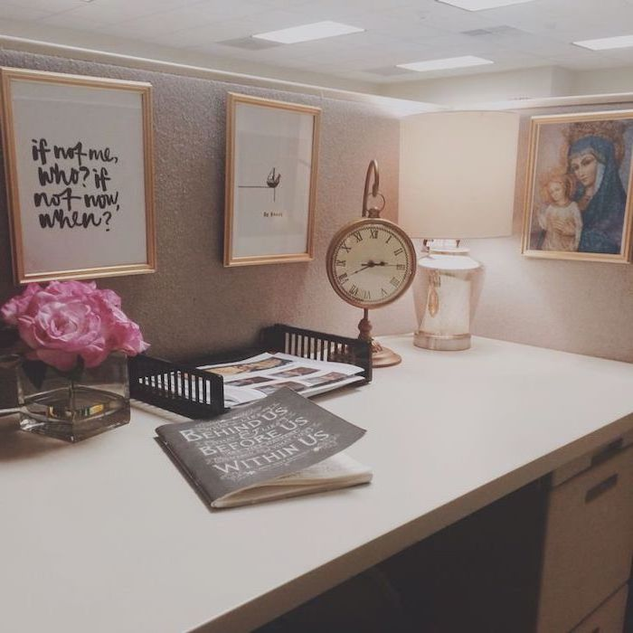 framed art, inspirational quote, work desk decor, vintage clock, pink flower bouqet, white desk