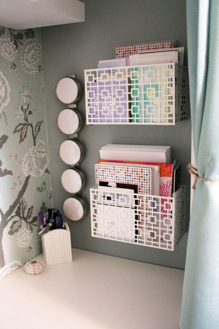 white metal, desk organisers, work desk decor, floral wallpaper, white desk, grey wall, pencil holder
