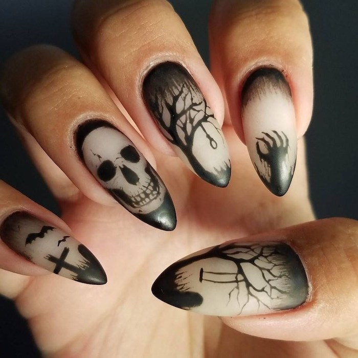 white matte nail polish, black cemetery decorations, skull and trees, black background, candy corn nails