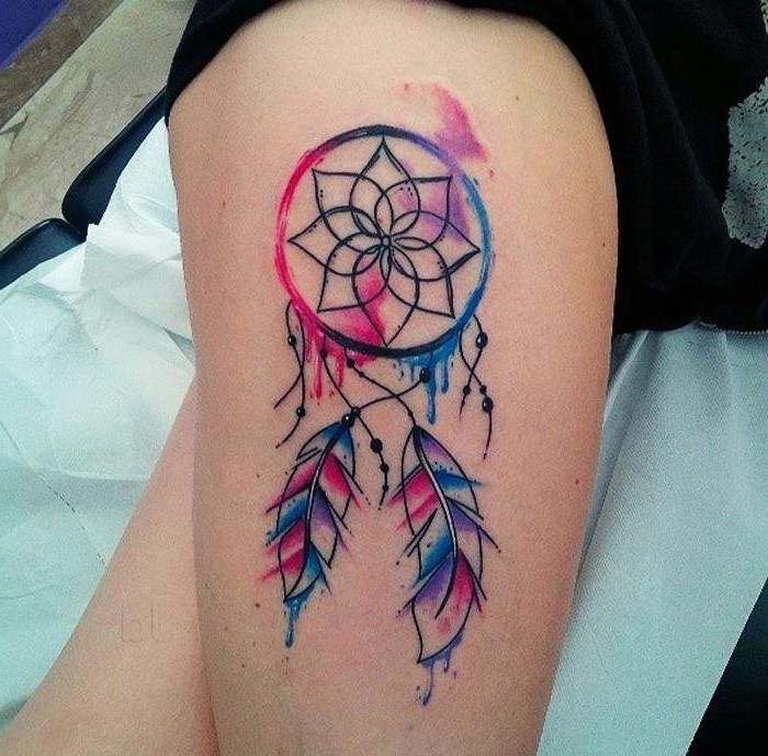 pink blue and purple colors, watercolor tattoo, thigh tattoo, disney dream catcher, white sheet of paper