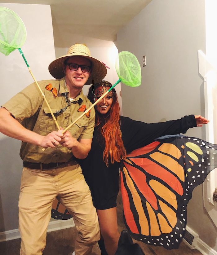 easy halloween costumes for guys, woman dressed as a butterfly, man dressed as a bug catcher