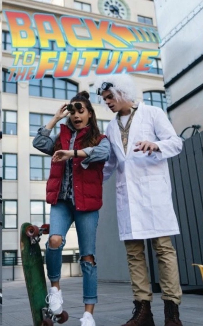 back to the future, marty mcfly and doc, easy halloween costumes for guys, man and woman