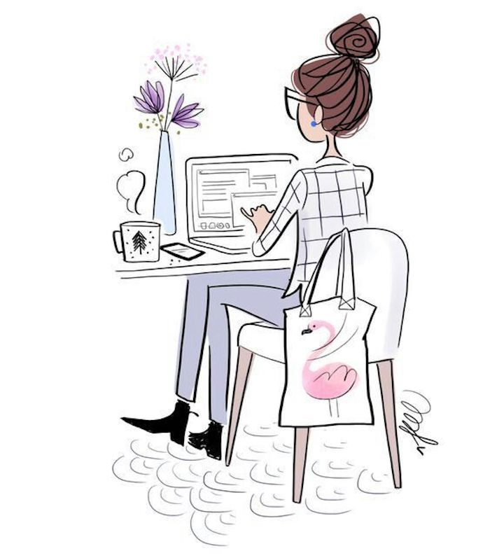 girl sitting on a chair, pics to draw, brown hair, white shirt and jeans, laptop and coffee mug