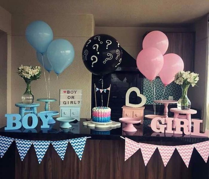 pink and blue decorations, large black balloon, gender reveal ideas pinterest, dessert table