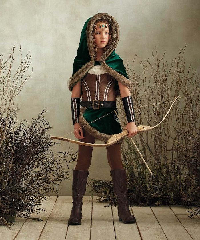 girl in archer's clothing, halloween costumes for girls, holding a bow and arrow, medieval costumes