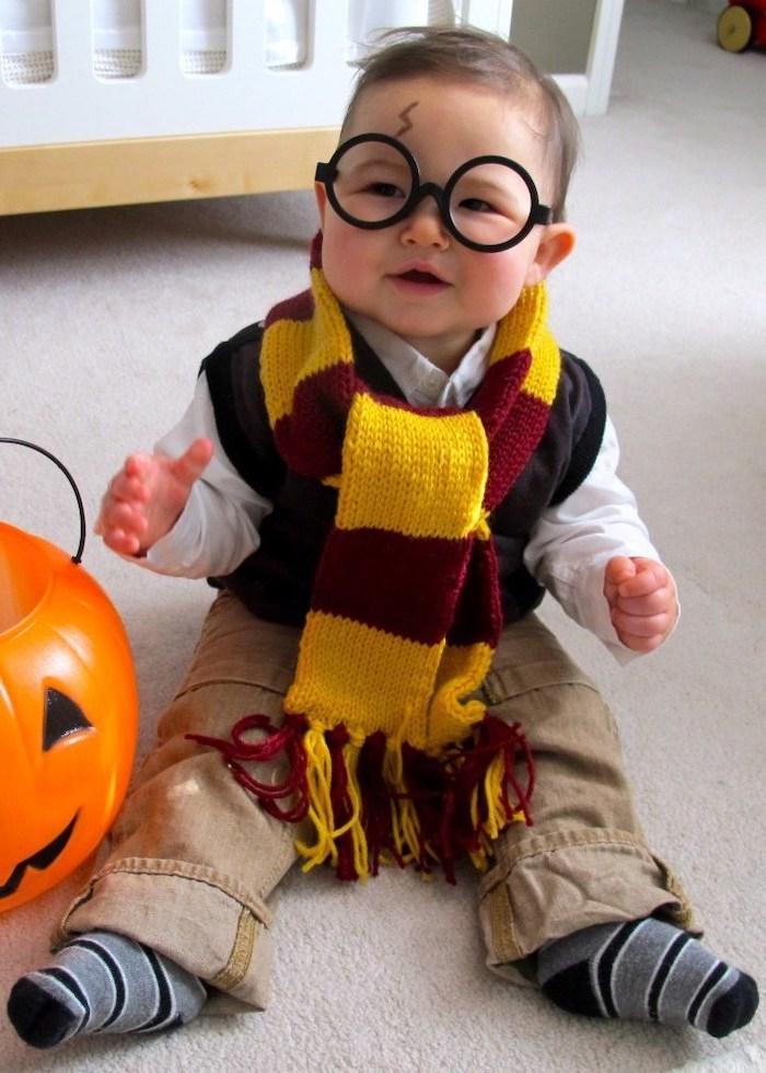 little boy, dressed as harry potter, round glasses, gryffindor scarf, halloween costumes for girls, lightning bolt scar