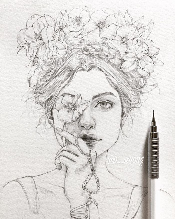 black and white, pencil sketch, how to draw a rose step by step, woman with a flower crown