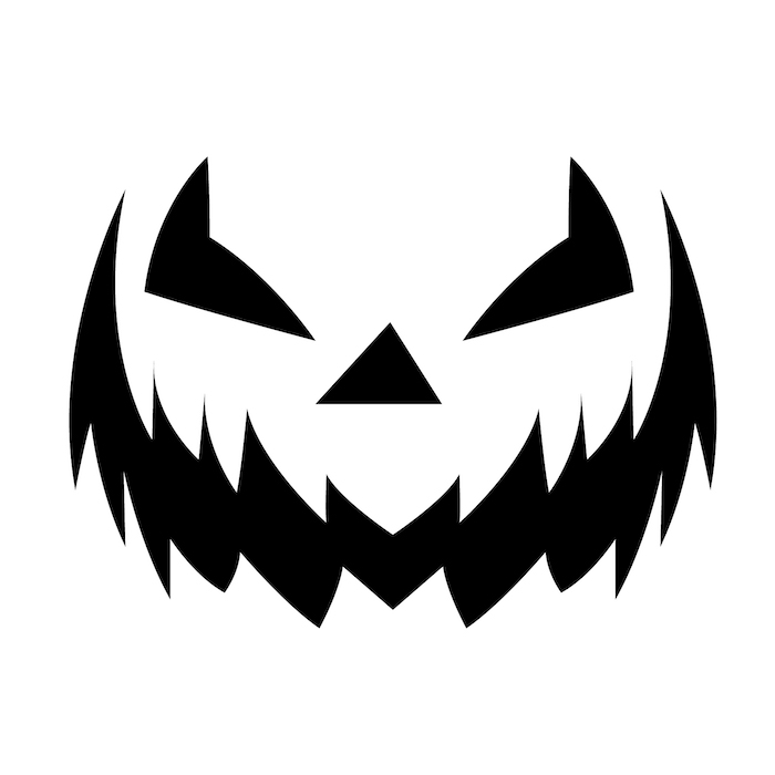 scary face, stencil template, black and white sketch, how to carve a pumpkin, diy tutorial