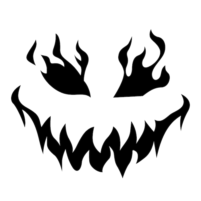 stencil template, how to carve a pumpkin, black and white sketch, scary face