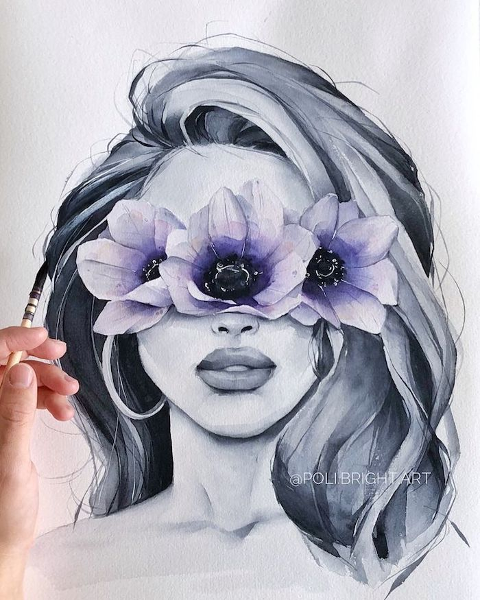 watercolor painting, woman with black hair, purple flowers, white background, flower doodles