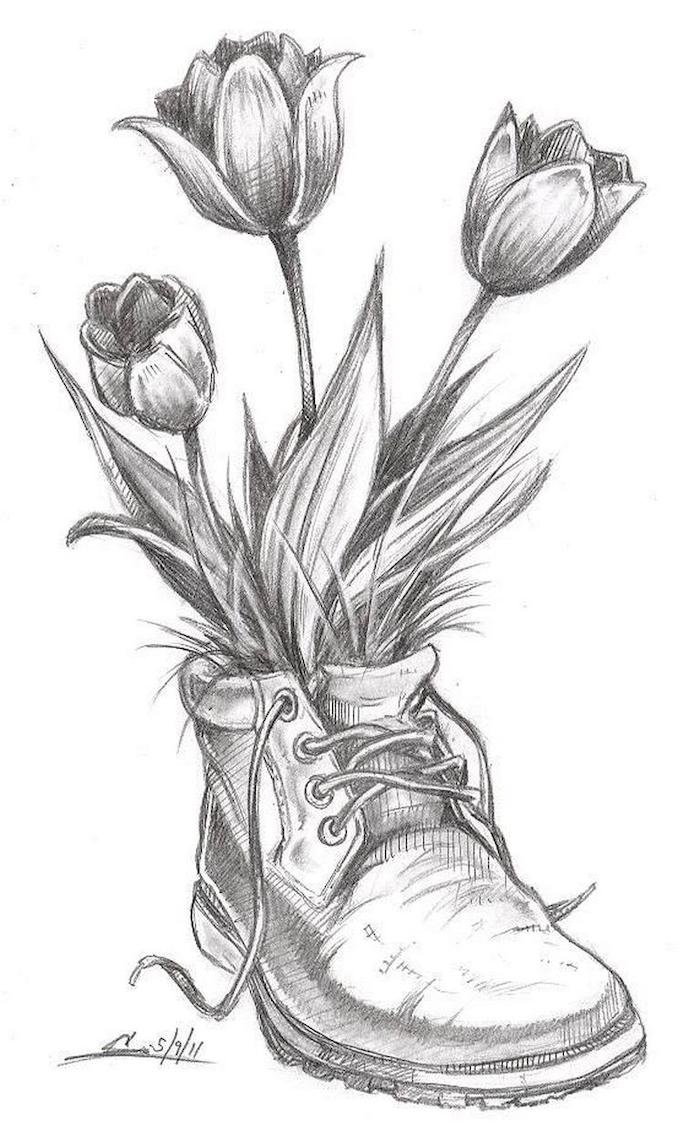 boot filled with tulips, black and white, pencil sketch, how to draw a sunflower, white background