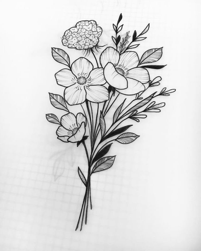 how to draw a sunflower, a bunch of flowers, black pencil sketch, on white background