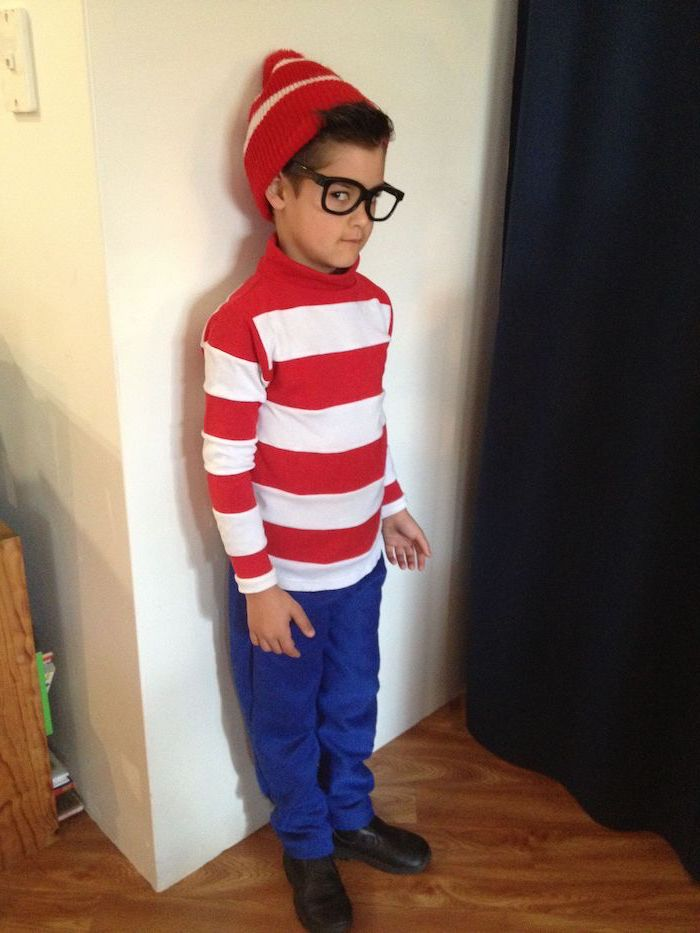 boy dressed as waldo, red and white striped shirt, toddler halloween costumes, red beanie, blue pants