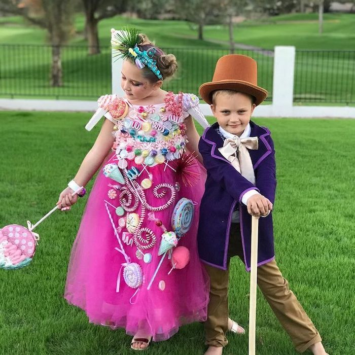 boy and girl, dressed as willy wonka and the chocolate factory, halloween costume ideas, pink tulle gown