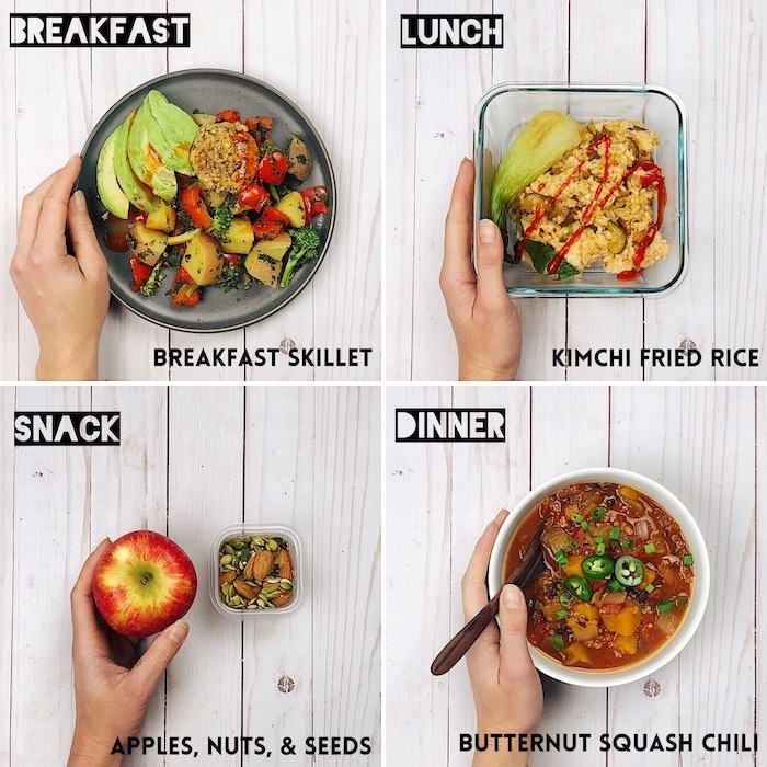 breakfast and lunch, snack and dinner, easy meal prep ideas, recipe for each meal, photo collage