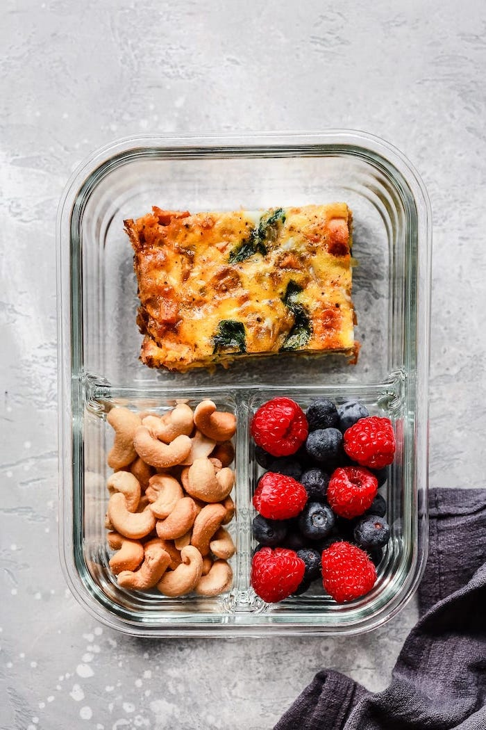 egg casserole, blueberries and raspberries, easy meal prep ideas, nuts in a glass container