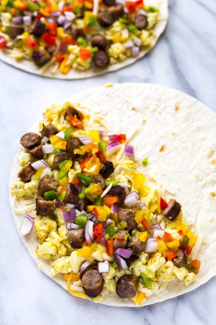 tortilla wraps, filled with vegetables and sausages, meal prep ideas, breakfast quesadillas, marble countertop
