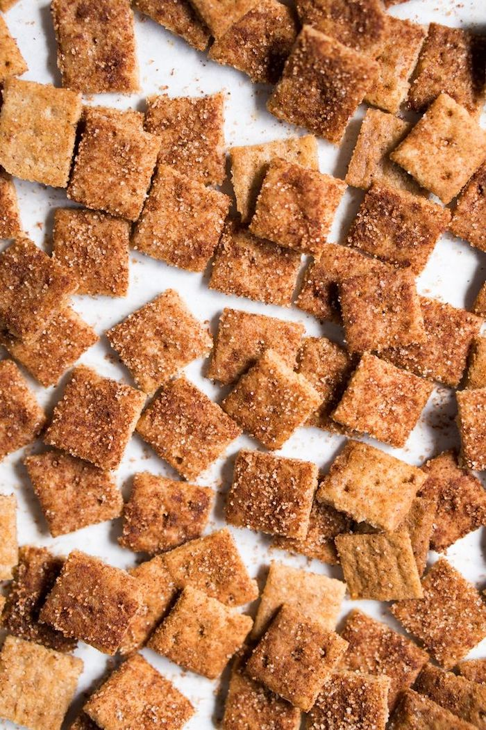 cinnamon toast crunch, keto breakfast ideas, small square pieces, on white table