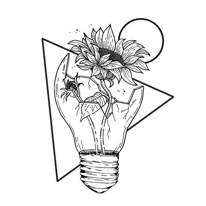 two sunflowers, inside a broken light bulb, how to draw a sunflower, triangle and circle, black pencil sketch