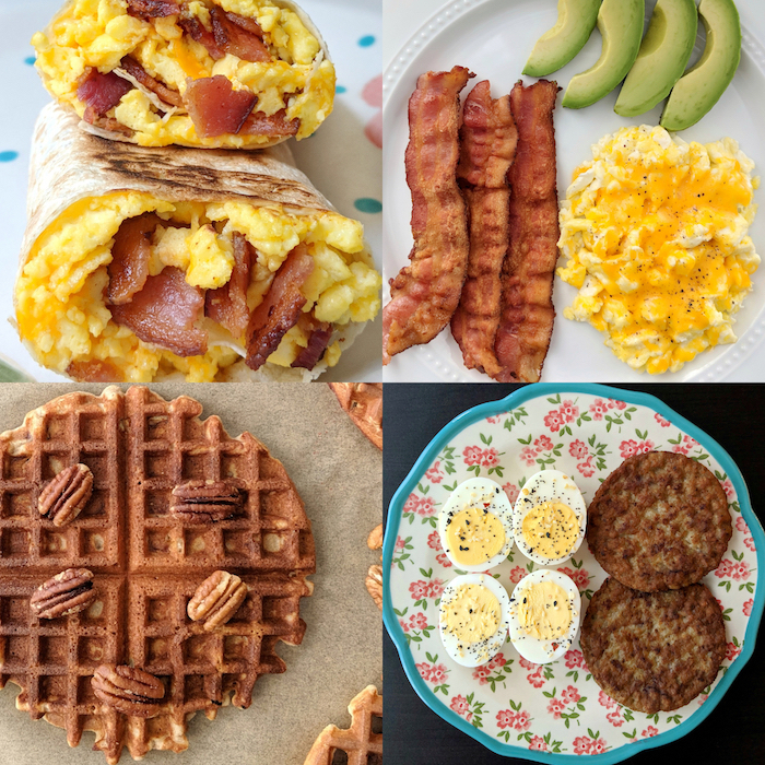 photo collage, ketogenic diet recipes, egg and bacon burritos, waffles with walnuts, boiled eggs