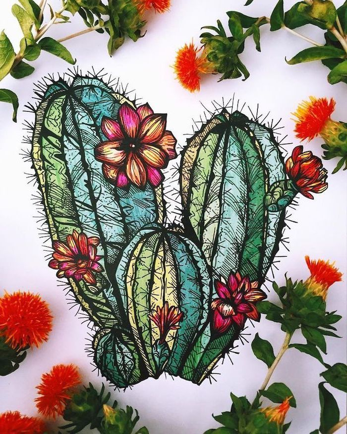 colored painting, flower doodles, cactus with flowers, real flowers, scattered around, white background