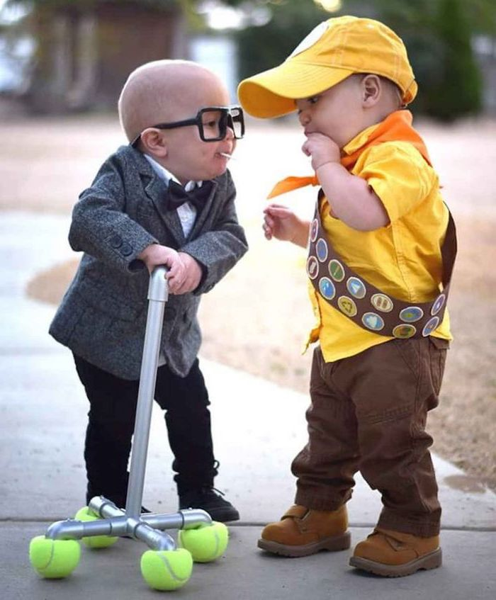 two boys, dressed as carl and russel, up movie inspired, toddler boy costume, metal cane, yellow shirt