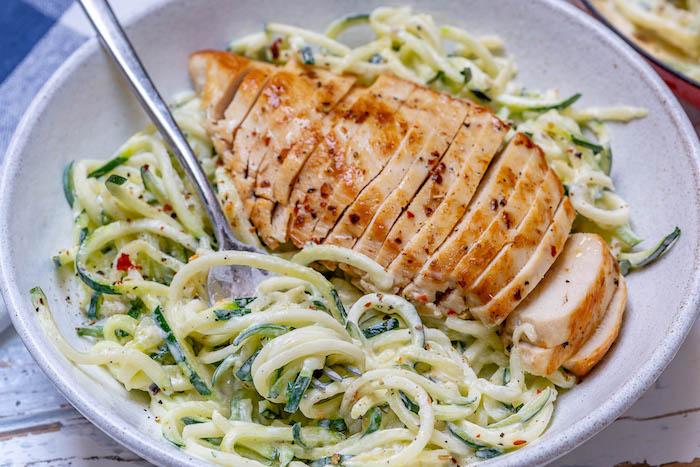 chicken alfredo, creamy sauce, chicken breast, in thin slices, zucchini spaghetti recipe, white bowl