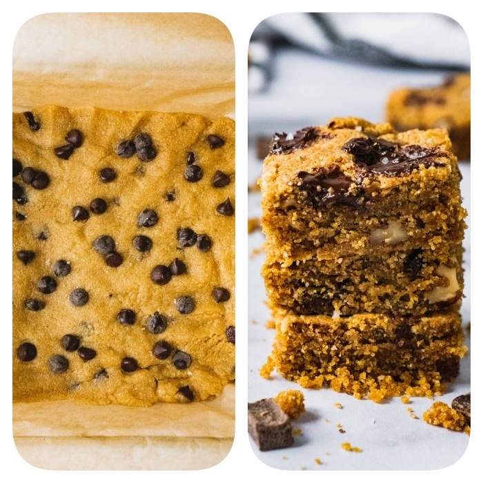 cookie dough in a tray, cookies with melted chocolate, easy chocolate chip cookies, side by side photos