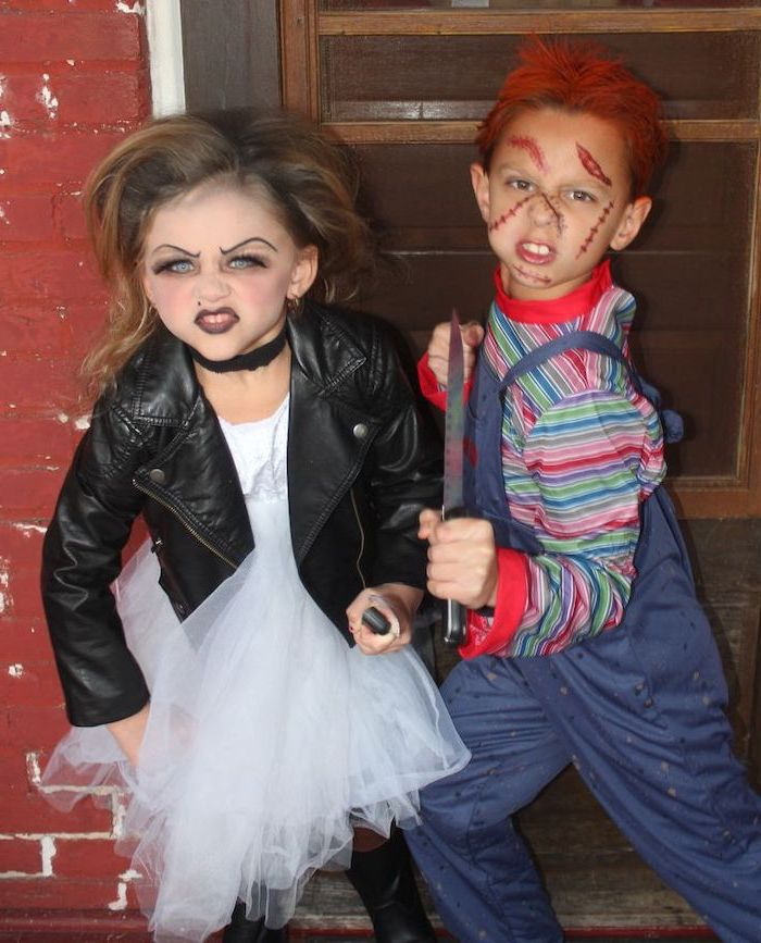 boy and girl, dressed as chucky, chucky's bride, halloween costumes for kids, wearing face makeup