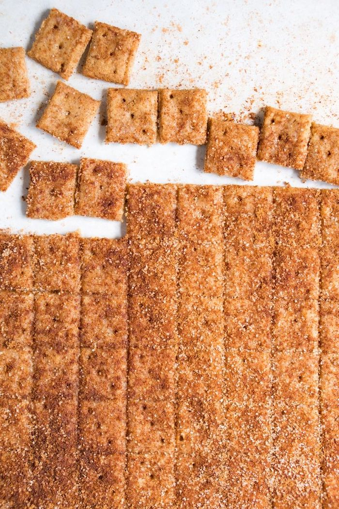 cinnamon toast crunch, cut into square pieces, on white table, keto breakfast ideas