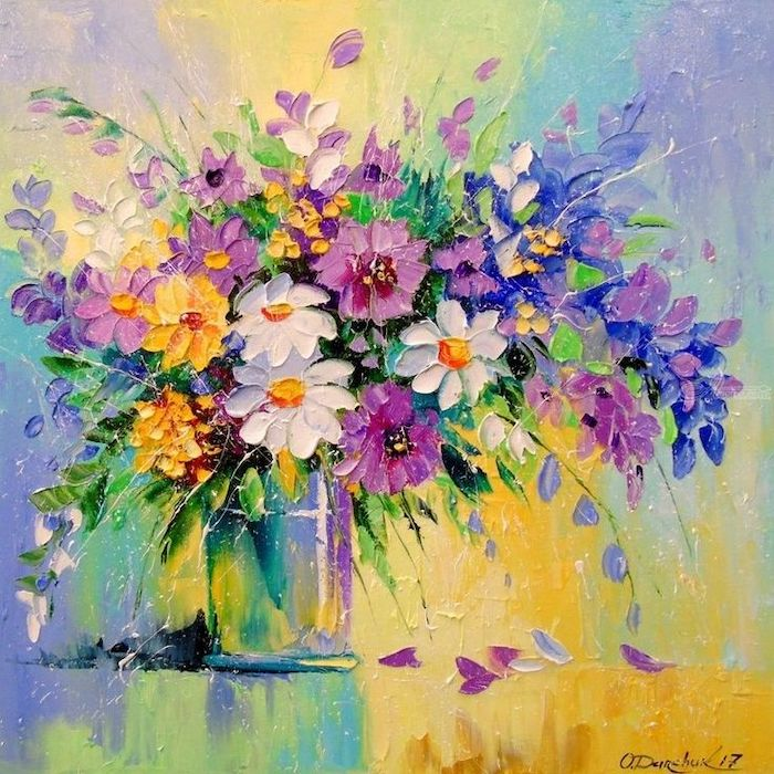 large flower bouquet, inside a vase, how to draw a sunflower, colored painting, colorful background