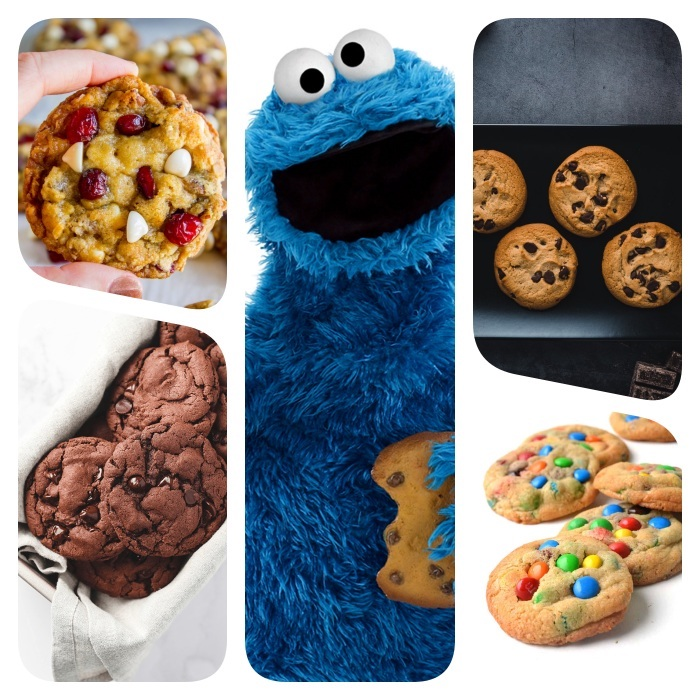 chewy chocolate chip cookies, cookie monster, photo collage, with different cookies, white background